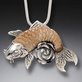 Mother of Pearl and Fossilized Walrus Ivory Koi Necklace – Rose Koi