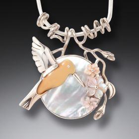 Fossilized Walrus Ivory Hummingbird and Moon Flower Pendant - After The Rain