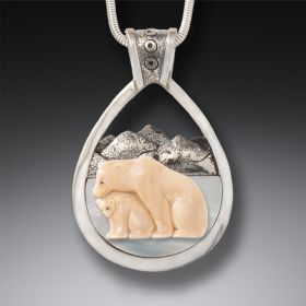 Fossilized Mammoth Ivory Mother of Pearl Bear Necklace Bear with Cub