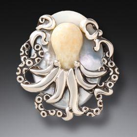 Fossilized Walrus Ivory Octopus Pendant - Octopus Treasure