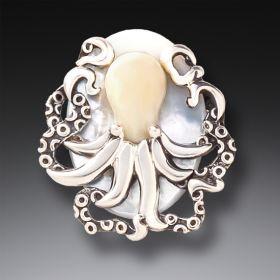 Fossilized Mammoth Ivory Octopus Pendant - Octopus Treasure
