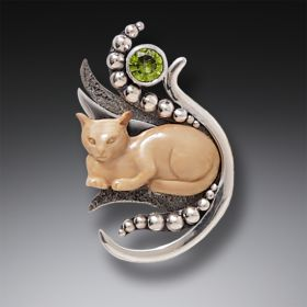 Fossilized Walrus Ivory Cat Pendant Silver with Peridot, Handmade - Cat in the Grass