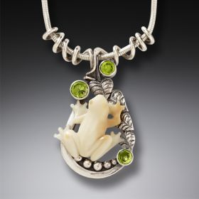 Fossilized Walrus Ivory Handmade Silver Frog Necklace - Tree Frog