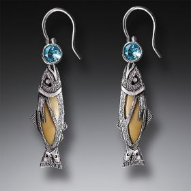 Handmade Silver Jeweled Fish Earrings with Fossilized Walrus Ivory and Blue Topaz - Treasures from the Stream
