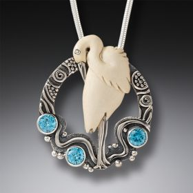 Mammoth Ivory Bird Necklace with Blue Topaz, Handmade Silver - Egret in Flow