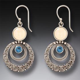 Mammoth Ivory Tusk Blue Topaz Silver Earrings, Handmade - Ripples