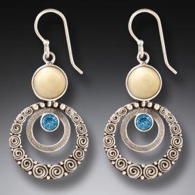 Walrus Ivory Blue Topaz Silver Earrings, Handmade - Ripples
