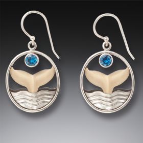 Fossilized Ivory, Silver, Topaz Whale Tail Earrings - Whale Song