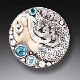 Mammoth Ivory Tusk Mermaid Pin or Pendant with Rainbow Moonstone and Blue Topaz - Mermaid Medallion