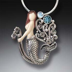 Mammoth Ivory Jewelry Silver Mermaid Necklace with Rainbow Moonstone and Blue Topaz - Mermaid Joy
