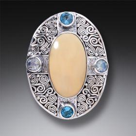 Mammoth Ivory Tusk Aura Necklace with Rainbow Moonstone and Blue Topaz - Auric Dance