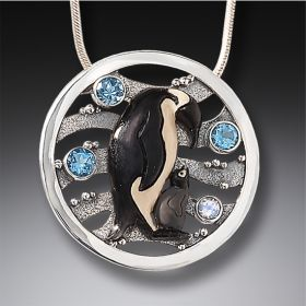 Mammoth Tusk Ivory Penguin Necklace Silver with Rainbow Moonstone and Blue Topaz - Devotion