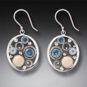 Mammoth Ivory Tusk Rainbow Moonstone Earrings with Blue Topaz - Arctic Dreams
