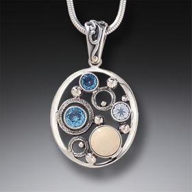 Mammoth Ivory Tusk Rainbow Moonstone Pendant Necklace with Blue Topaz - Arctic Dreams