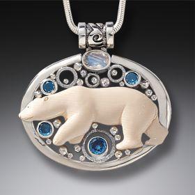 Mammoth Tusk Silver Polar Bear Necklace with Rainbow Moonstone - Arctic Lights