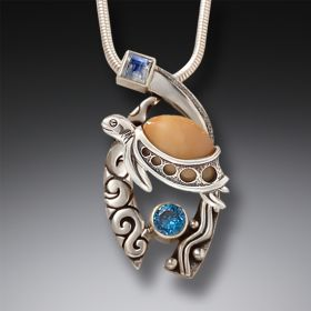 Ancient Mammoth Ivory,  Silver, Topaz Turtle Pendant - Wave Rider
