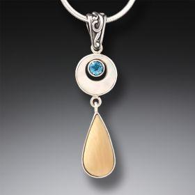 Mammoth Ancient Ivory Blue Topaz Teardrop Necklace in Handmade Silver - Arctic Rain