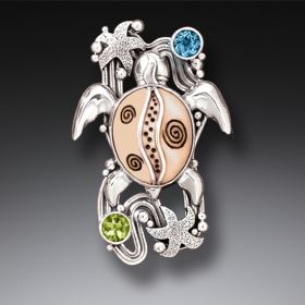 Silver Sea Turtle Fossilized Walrus Ivory Pin or Pendant with Peridot and Blue Topaz - On the Beach