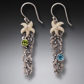 Fossilized Walrus Ivory Dangling Starfish Earrings Silver with Peridot and Blue Topaz - Sea Garden