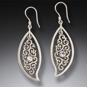 Silver, Rainbow Moonstone Leaf Earrings - Dancing Leaves