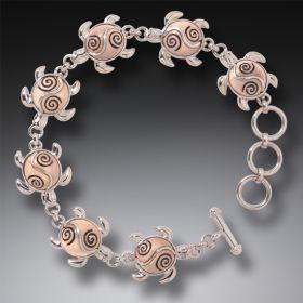 Tagua Nut Sea Turtle Bracelet Silver, Handmade - Turtle Circle