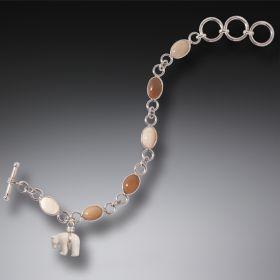 Tagua Nut and Bone Bear Charm Bracelet, Handmade Silver - Zuni Bear