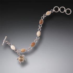 Tagua Nut Sea Turtle Charm Bracelet, Handmade Silver - Sea Turtle