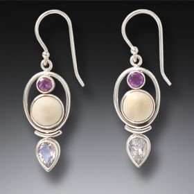 Tagua Nut, Amethyst and Moonstone Earrings- Finding Balance