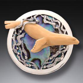 Seal Pendant or Pin Paua Jewelry, Handmade Silver - Seal's Delight