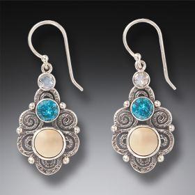 Tagua Nut Silver Spiral Earrings - Stardust
