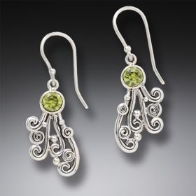Handmade Unique Silver Jewelry Ocean Earrings with Peridot Drop - Spray