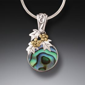 Handmade Silver Paua Necklace with 14kt Gold Fill - After The Flood
