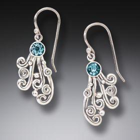 Handmade Unique Silver Jewelry Silver Blue Topaz Earrings - Spray