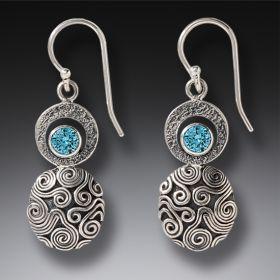 Handmade Silver Blue Topaz Earrings - Dew Drop