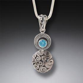 Handmade Silver Blue Topaz Drop Necklace - Dew Drop