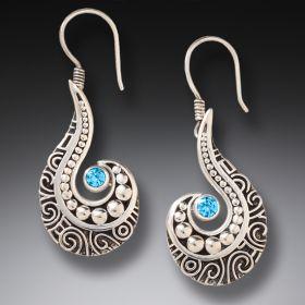 Silver, Blue Topaz Wave Earrings - Ocean Waves