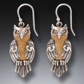 sterling silver owl earrings, fossilized ivory