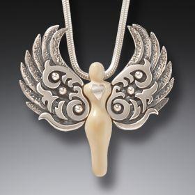 Zealandia silver angel jewelry angel heart pendant
