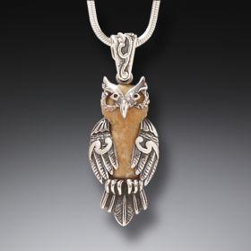 Zealandia owl jewelry silver owl necklace