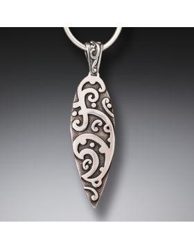 Handmade Silver Surf Necklace - Maori Surf Design