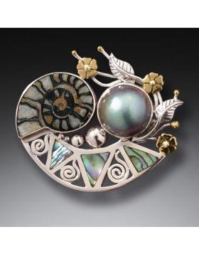 Mabe Pearl Pendant/Pin Paua Jewelry with Moroccan Ammonite and 14kt Gold Fill - Cornucopia