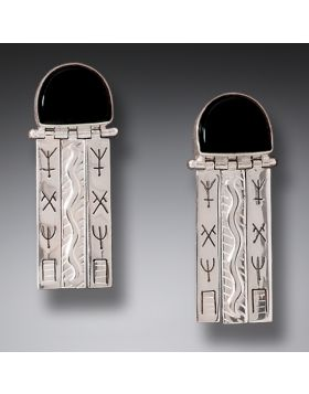 Handmade Silver Black Mussel Earrings - Priestess