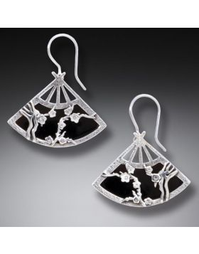 Handmade Silver Fan Earrings Geisha Jewelry - Black Fan