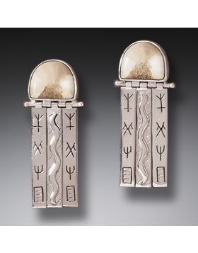Handmade Silver Fossilized Walrus Ivory Earrings - Priestess