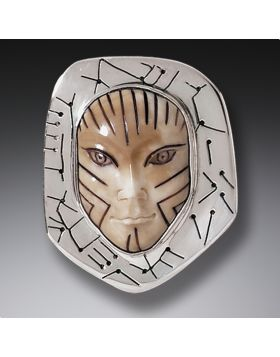 Mammoth Ivory Pin Silver Mask Pendant, Handmade - Vinca Mask