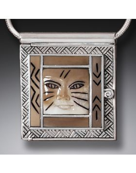 Fossilized Walrus Ivory Cat Locket, Handmade Silver - Cat Woman Locket