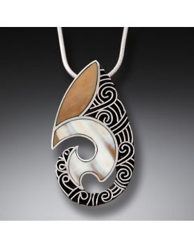Fossilized Walrus Ivory Handmade Silver Pendant - Maori Design