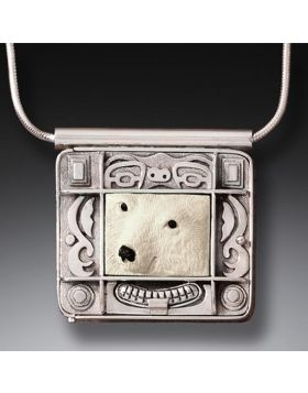 Mammoth Ivory Polar Bear Locket in Handmade Silver - Polar Bear Spirit