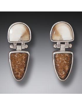 Fossilized Walrus Tusk Hinge Earrings in Handmade Silver - New Dawn