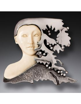Mammoth Tusk Ivory Goddess Gaia Necklace in Handmade Silver - Gaia II